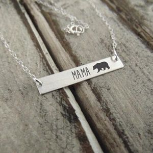 Jewelry - Mama Bear Silver Bar Necklace